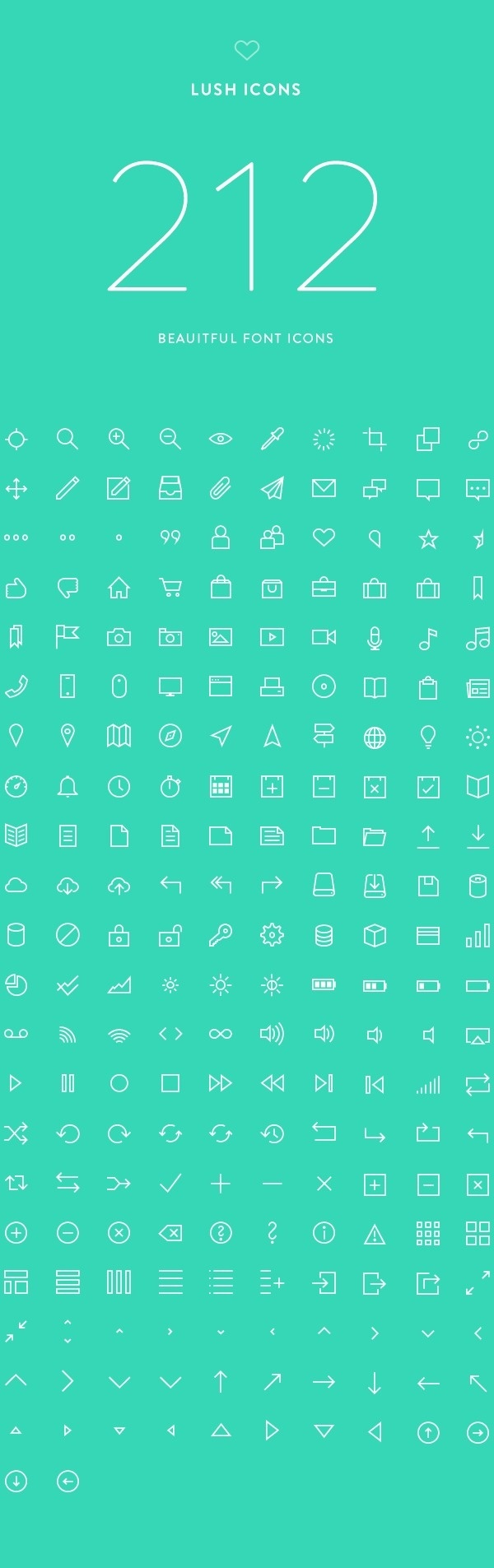 Lush Icons: 212 Beautiful Font Icons on Behance #modern #ux #icons #clean #ui #web