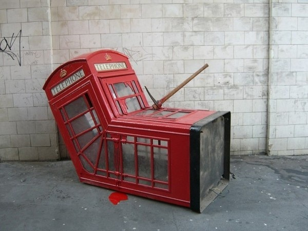 Dead creative phone booth by Banksy #phone #public #booth #art #street #exterior #telephone