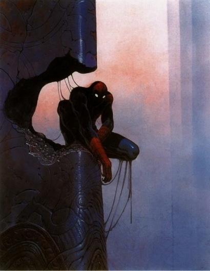 this isn't happiness™ (Spidey, Moebius), Peteski #slime #spiderman #illustration #shadow #column