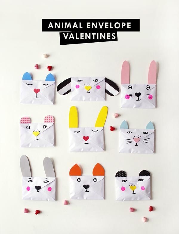 DIY Animal Envelope Valentines #diy #illustration #character #envelope