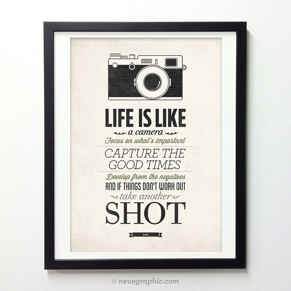 Life Is Like A Camera   Vintage Style Typography Inspirational Quote Poster  #quote #print