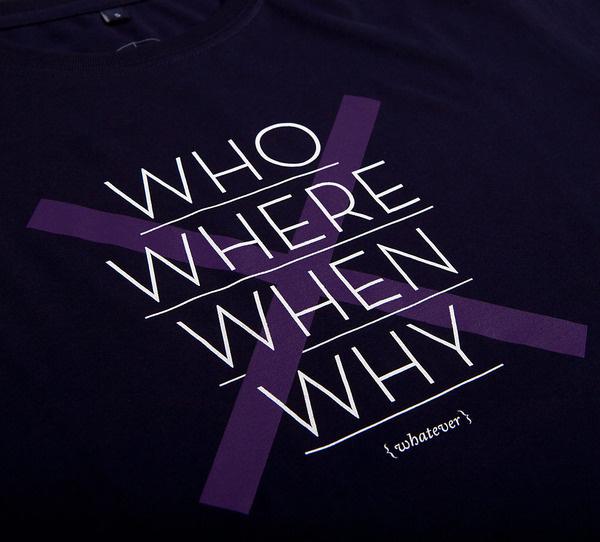 NATRI - cross type - T-Shirt (navy blue): WHO, WHERE, WHEN, WHY - WHATEVER #silkscreen #apparel #modern #print #design #graphic #shirt #minimal #fashion #type #typography