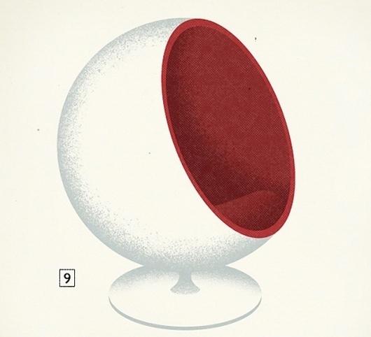 Modern Furniture Mid-Century Poster – Graphic Design, Illustration inspiration on MONOmoda #chair #illustration