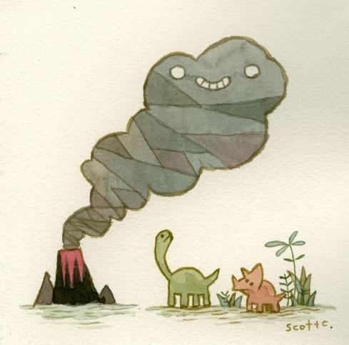 PyramidCar!: Tender Times Recap! #smoke #illustration #volcano #cute #dinosaurs #watercolour