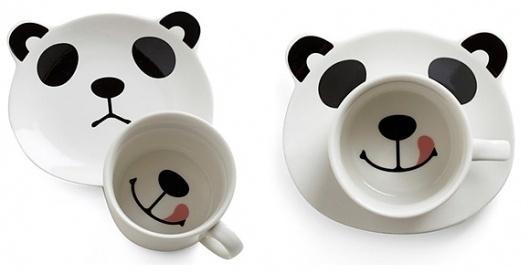 Panda Smile on Your Face Mug Set | Design | Gear #tongue #plate #panda #mug