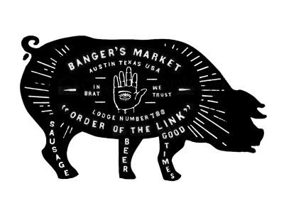 Dribbble - Banger's Restaurant Signage by Curtis Jinkins #branding #sign #illustration #custom #signage #type