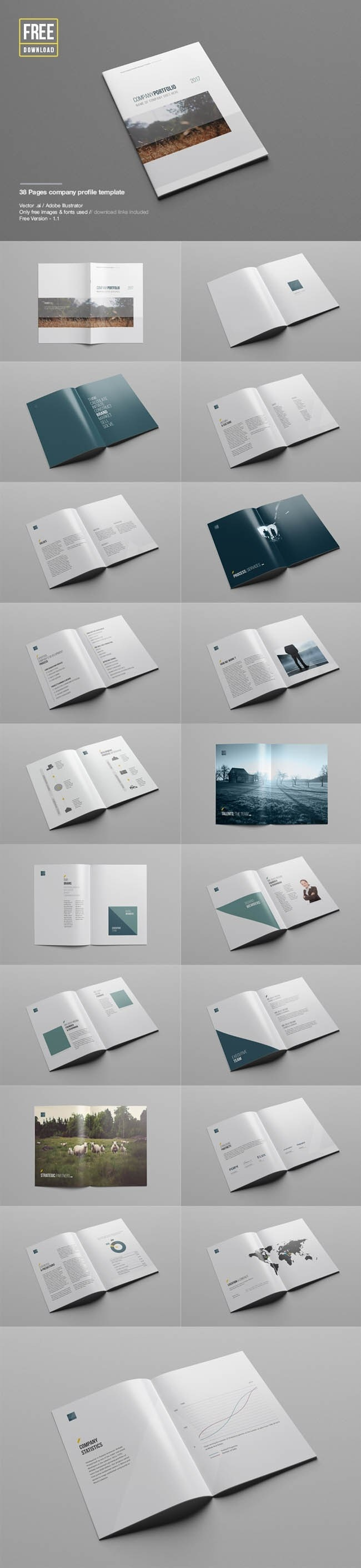 Free 38 Pages Company Profile Template