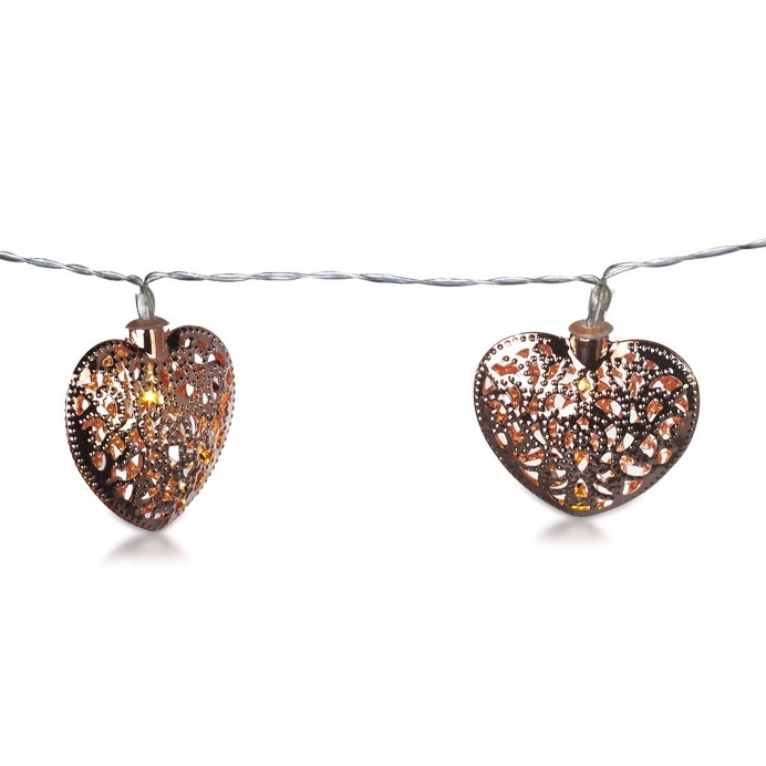 String Light Copper Garland Wire With Hearts 10 Lights 155cm