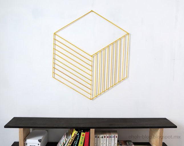 33-woodstick #optical #illusion #stick #wall #art #diy