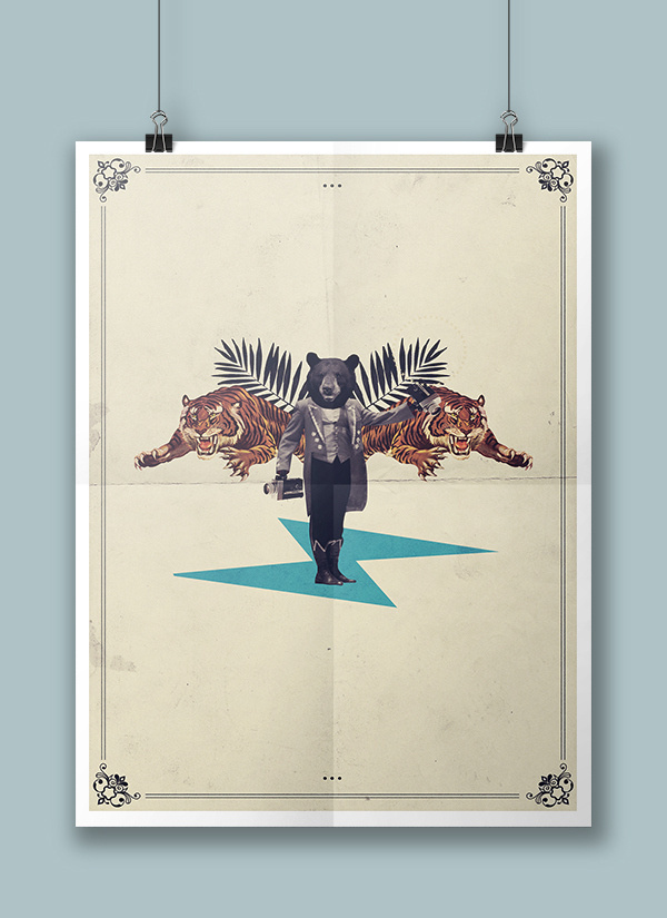 The training Show on Behance #vintage #poster #bear #tiger #collage #magazine