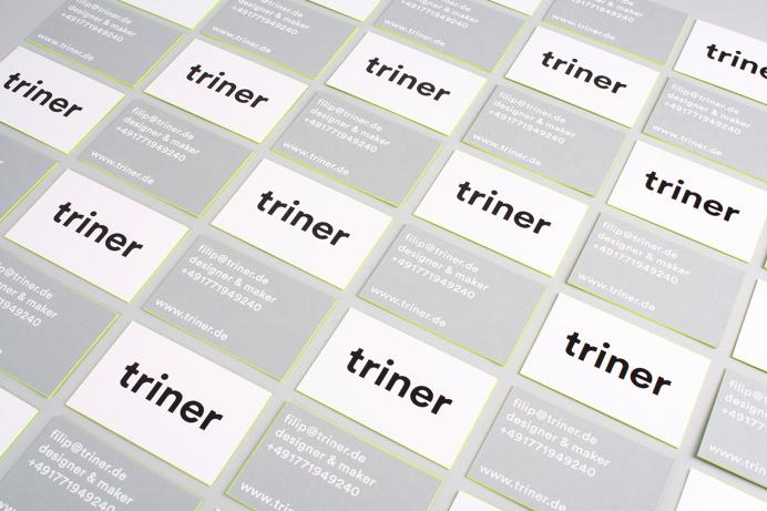 filip triner design branding business cards painted edges www.triner.de edge neon yellow embossing emboss print thick business card black gr