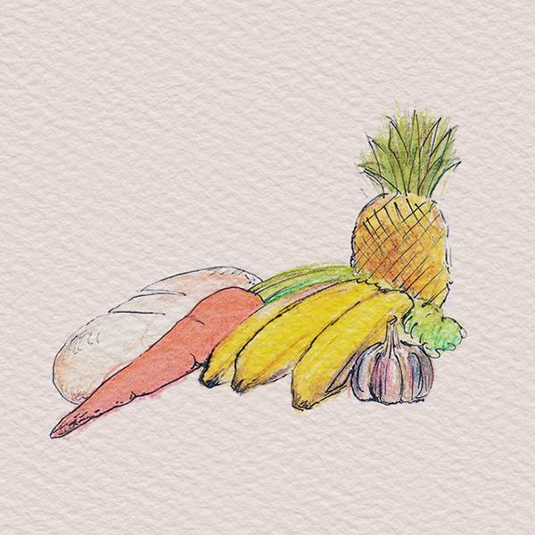 watercolor, markers veggies