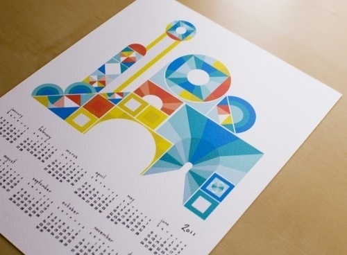Oh So Beautiful Paper #geometry #primary #calendar #letterpress #colors #tigerfood