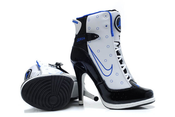 Nike Air Jordan 13 High Heels Shoes in White - Black/Blue Colors Womens #heels