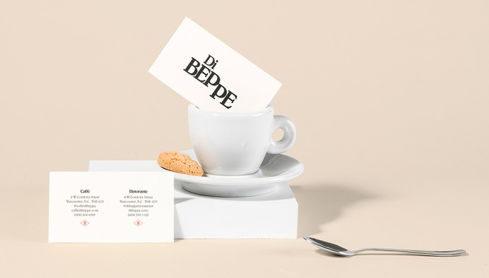 Logotype and print by Glasfurd & Walker for Italian caffé and ristorante Di Beppe