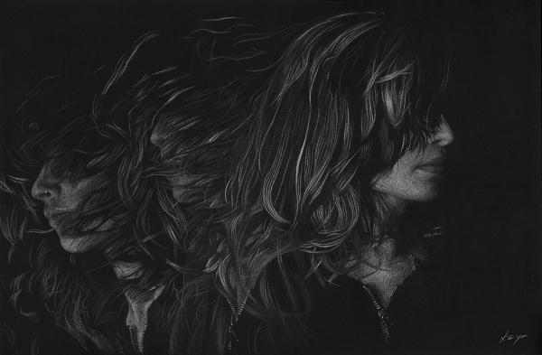 inmotion_maya_1024x.jpg (1024×672) #blackwhite #girl #motion #blur #hair #drawing
