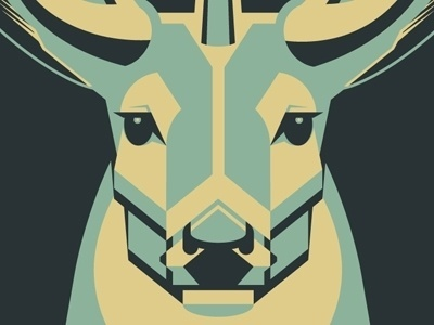 Dribbble - Mystery Project 3 by DKNG #deer #screenprint #geometric #poster #blue
