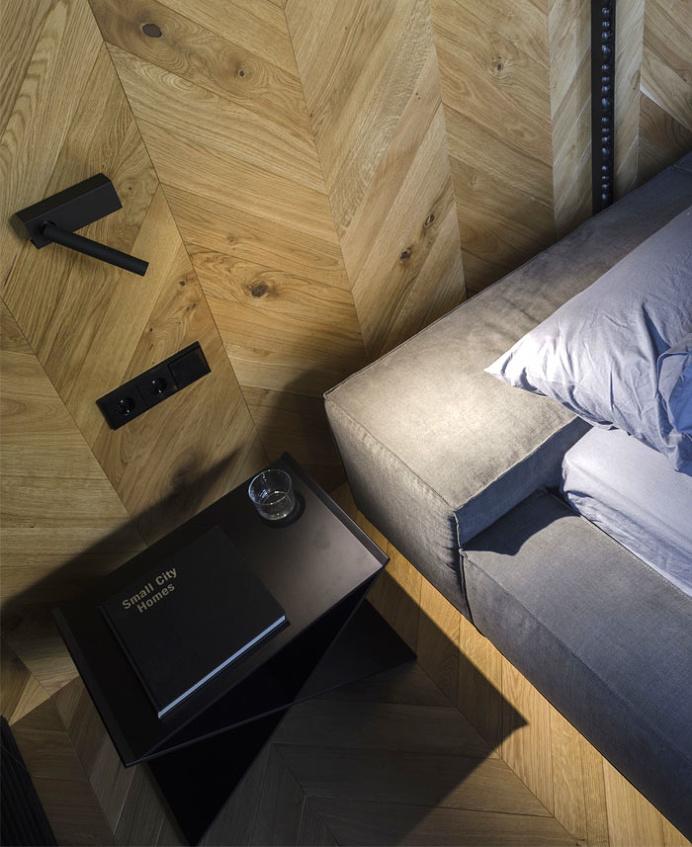 Small Masculine Apartment in Dark Color Schemes - InteriorZine
