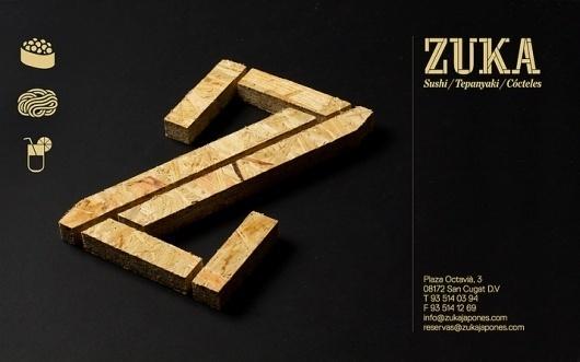 Zuka Restaurant Sant Cugat graphic design by Lo Siento Studio, Barcelona #losiento #identity #typography