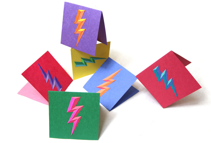 lightning bolt greeting cards #bright #layered #icon #photo #color #cards #composition #texture #iconic #bolt #lightning #photography #balance #light #dark #greeting #bevel #paper #shadow