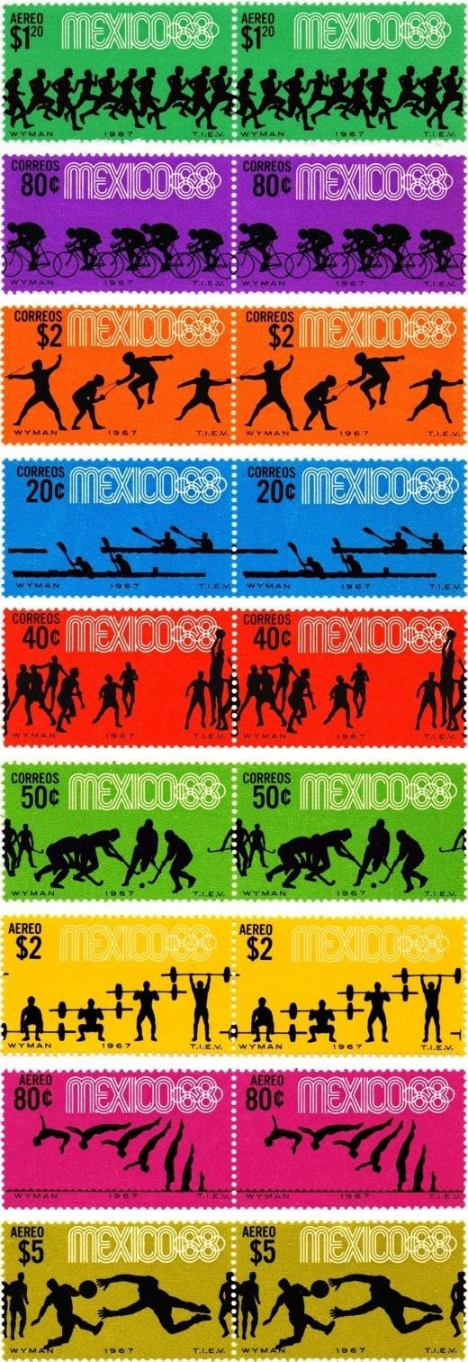 az project | » Lance Wyman #stamps #mexico #olympics #sports