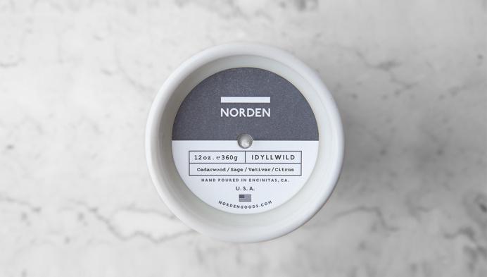 Norden Candle branding #candle #norden #white #letterpress