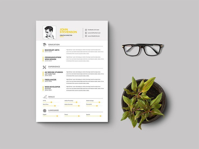 Free Clean Corporate Resume Template for Job Seeker