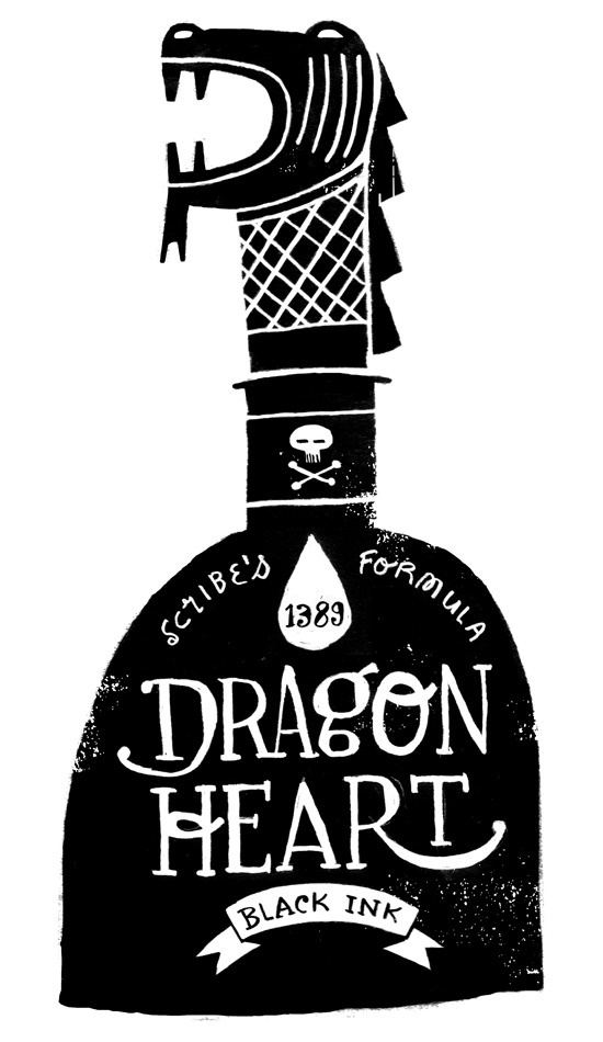 Dragon Heart Black Ink #dragon #ink #design #illustration #drawn #hand #typography