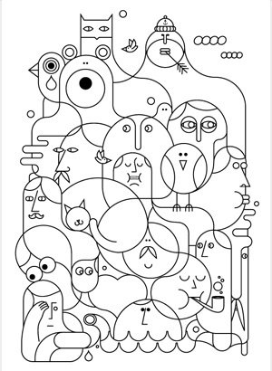 Jonathan Calugi, illustration, black and white
