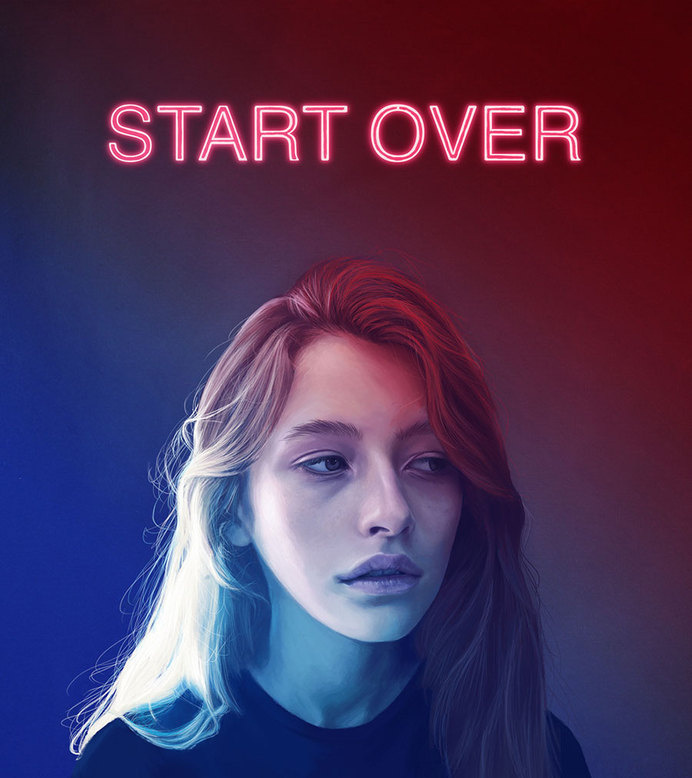 KEMI MAI | artnau #beauty #girl #start #over #illustration #portrait #glow #painting #art #neon