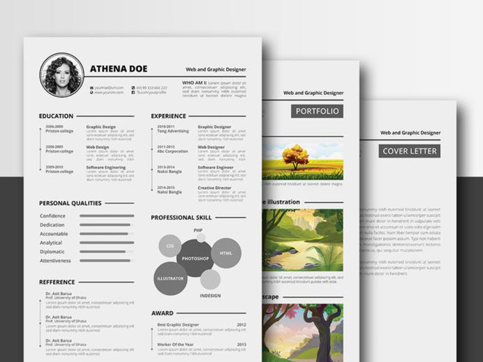 Athena Resume - Free Complete Resume Template in Multiple File Format