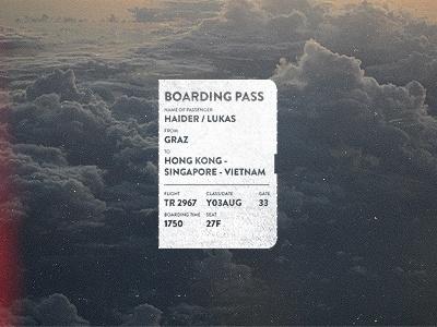 Dribbble - Flight No.2967 by Lukas Haider #vietnam #kong #signapore #retro #plane #pass #boarding #hong #typography