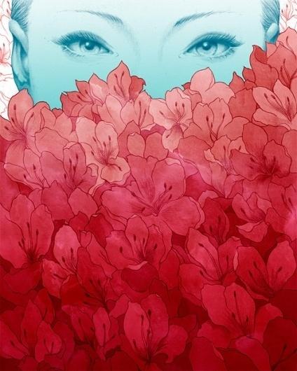 Illustration 1 on the Behance Network #flowers #eyes #girl #beauty