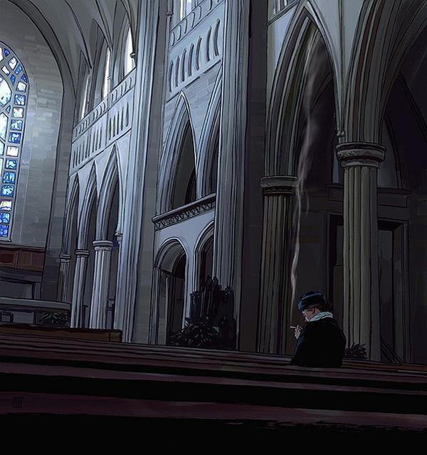 Illustration 2012 on Behance #smoke #church #illustration #smoking #editorial