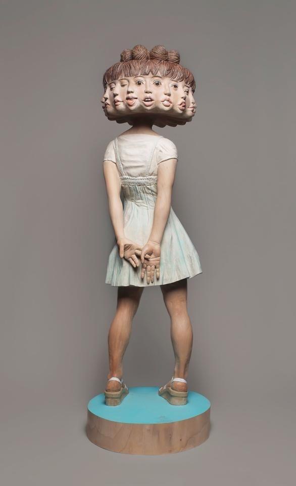 Yoshitoshi Kanemaki   artnau #sculpture #bizarre #girl #blur #design #heads #strange #art