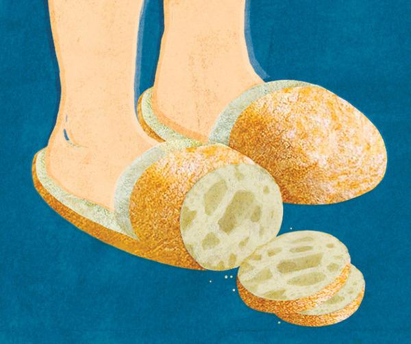 Ciabatta Illustrated Etymology #illustration #bread #slippers #adam r garcia #backing #ciabatta #illustrated etymology