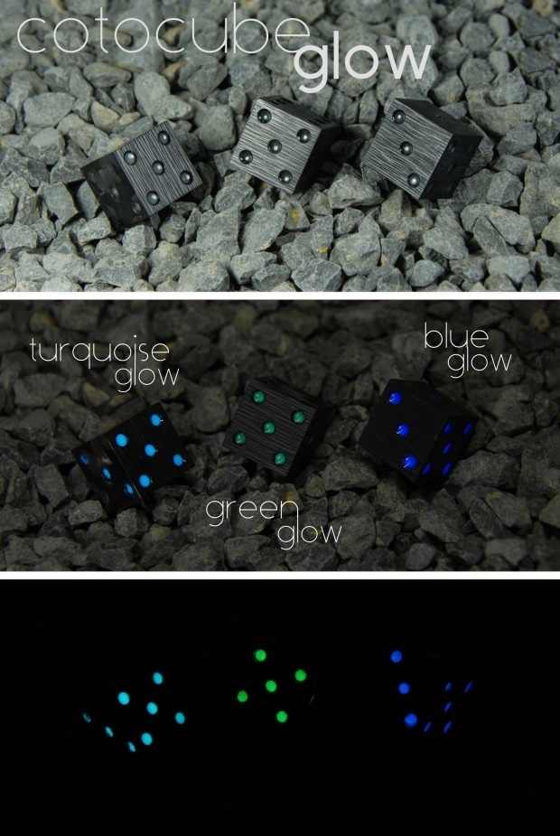 Cotocube - carbon fiber dice with glow in the dark pips! By COTO #carbon #carbonfiber #dice #glowinthedark #luxury #cotocube #fancy #unique