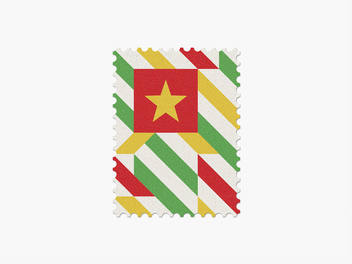 Cameroon #stamp #graphic #maan #geometric #illustration #minimal #2014 #worldcup #brazil