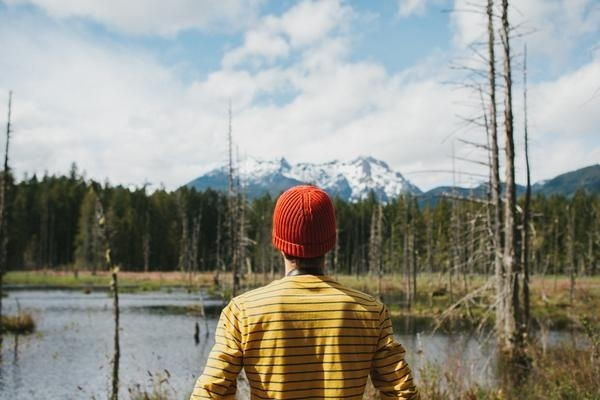 Photography by Bethany Marie (32) #red #hat #lake #forest #mountains #trees