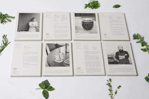 Food& on Behance #white #print #black #food #photography #and #passport #layout #postcards