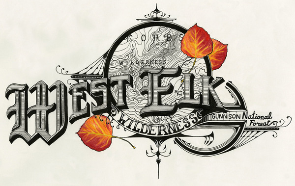 West Elk Wilderness #design #illustration #nature #pen #leaves #topography #type #hand #typography