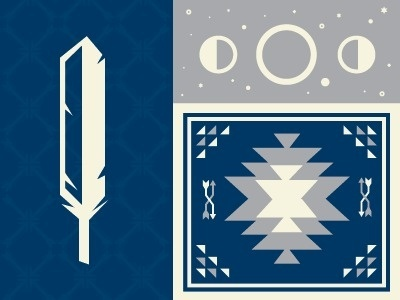Dribbble - Dog & Moon by Michael Smith #illustration #pattern #feather #geometric