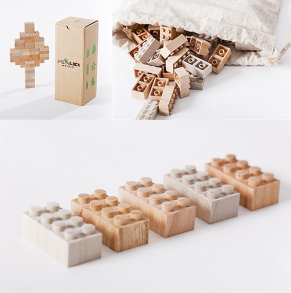 Handmade Wood LEGO Blocks from iichi