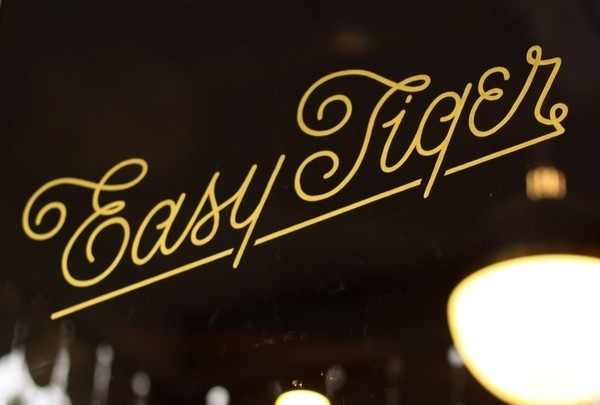 """Easy Tiger"" store front typography #tiger #script #easy #typography"