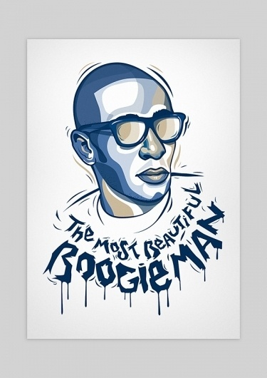 Mos Def - Boogie Man on the Behance Network #man #mos #def #portrait #music #blue #boogie #rap