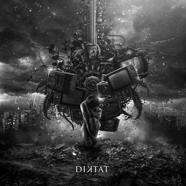 """Diktat"" by Pierre-Alain D. #television #self #city #monster #brain #apocalypse #mass #manipulation #dark #propagande #media #tv #population"