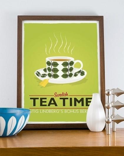 Stig Lindberg Bersa Swedish Tea Time A3 poster LIME by handz #tea #design #sweden #poster