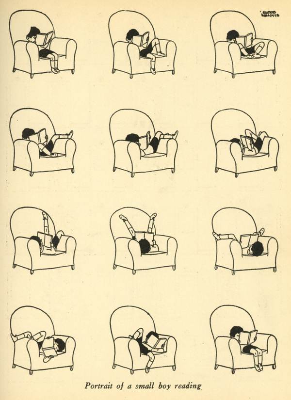 Stephen Kroninger Gluyas Williams #boy #book #illustration #reading #armchair
