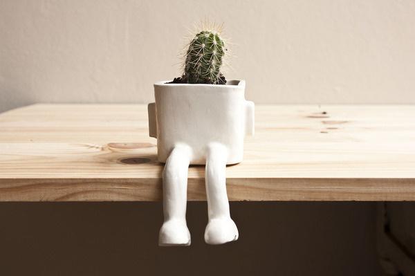 CJWHO ™ (Sitting Plant Pot by Wacamole Ceramic A plant...) #crafts #design #pot #art #lol #ceramic #funny #plant