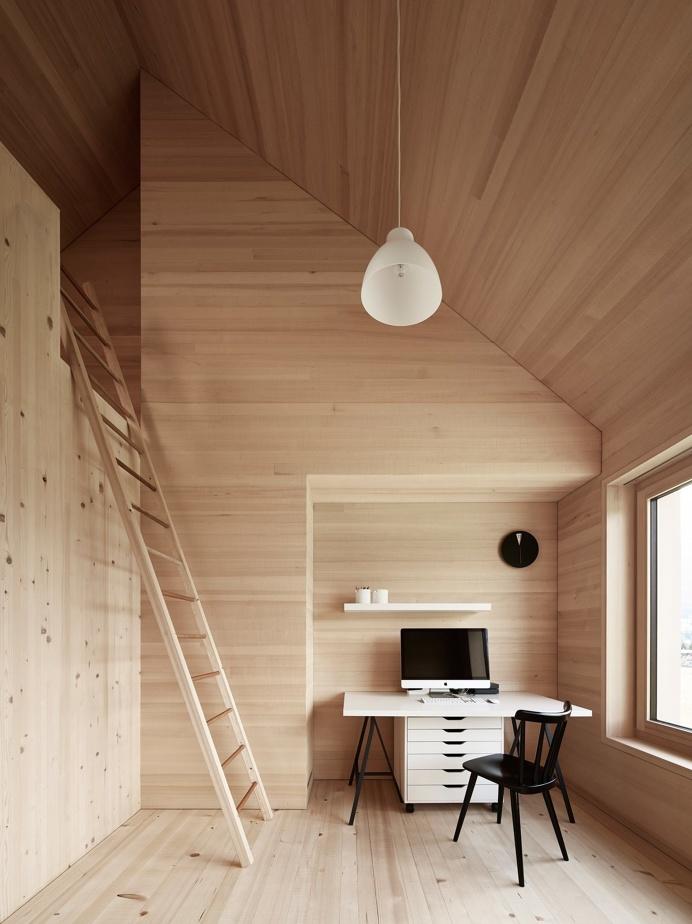 #loft #office #stairs #sprucewood #wallclock #blackchair #filcabinet #blackandwhite #interior #inside #workspace #storage